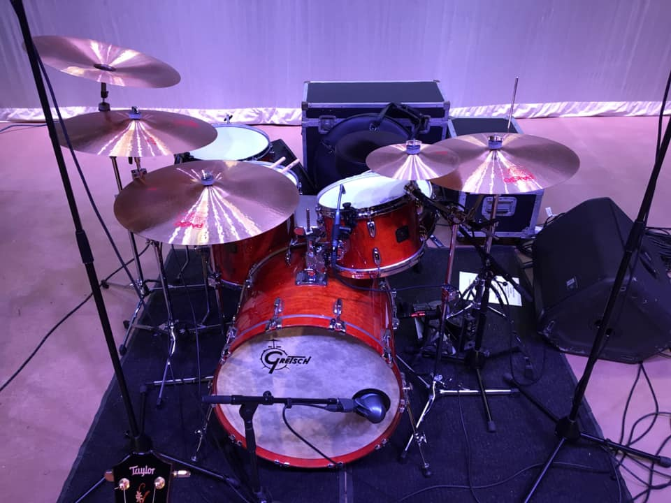 Paul's burnt orange Gretsch kit.